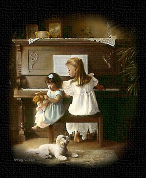 Girls playing at the piano